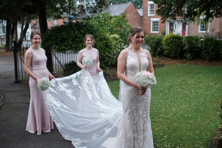 the wedding party socially distant