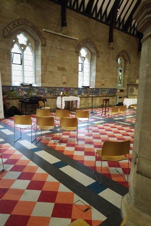 churched prepared for socially distant wedding